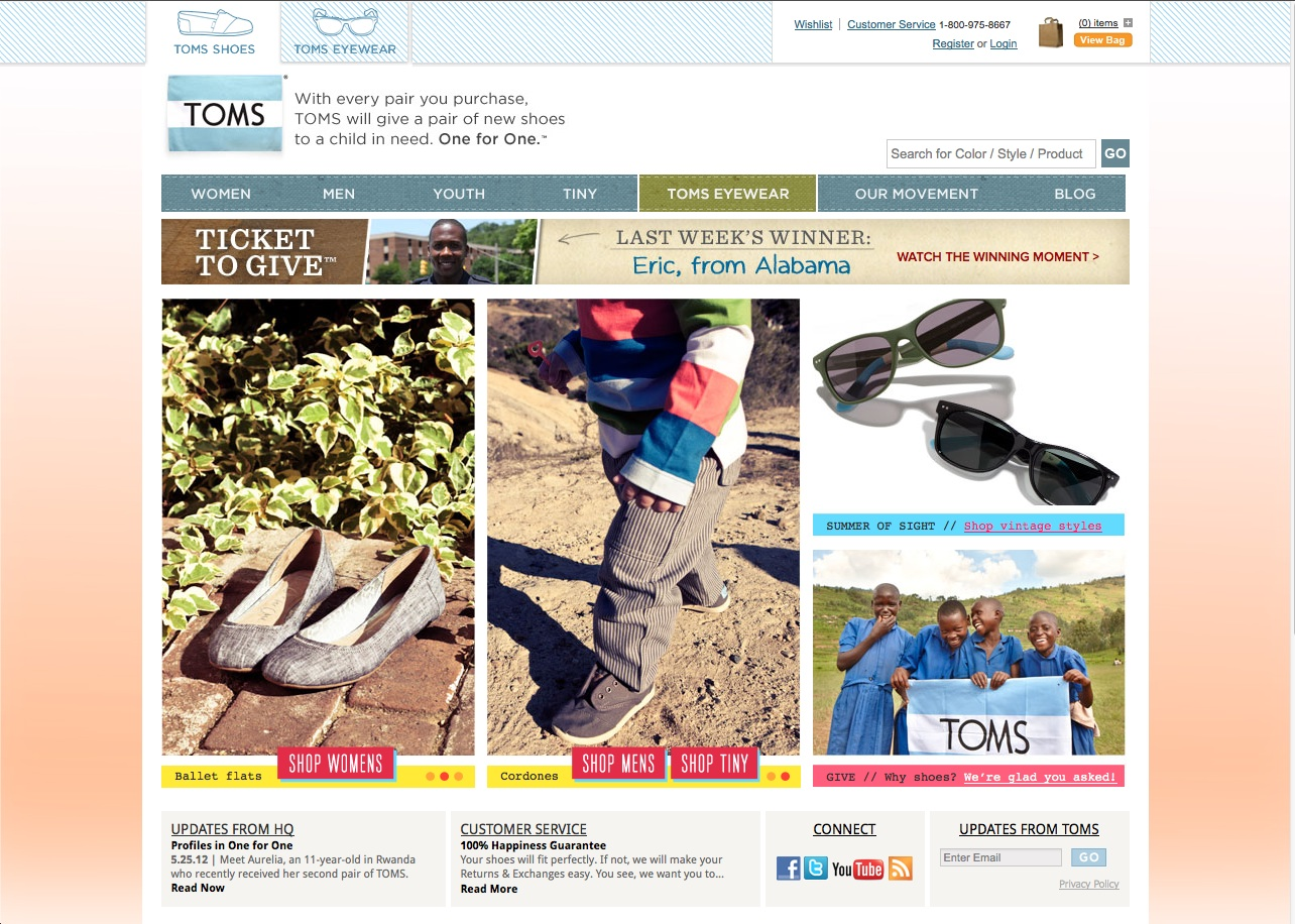 Toms Shoes Is A Smart Business They Have Good Product Ve Built Loyalty To Their Brand And Continue Optimize Site Using Adobe